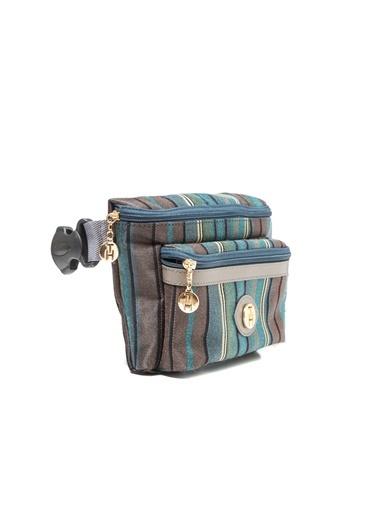 TH Bags TH Bags Fermuarlı Cepli Çizgili Kumaş Suni Deri Renkli Omuz Çantası Renkli